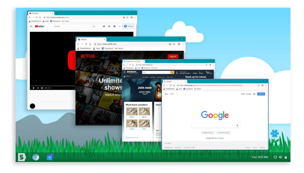 StartMeStick Desktop with Netflix, Amazon and Google
